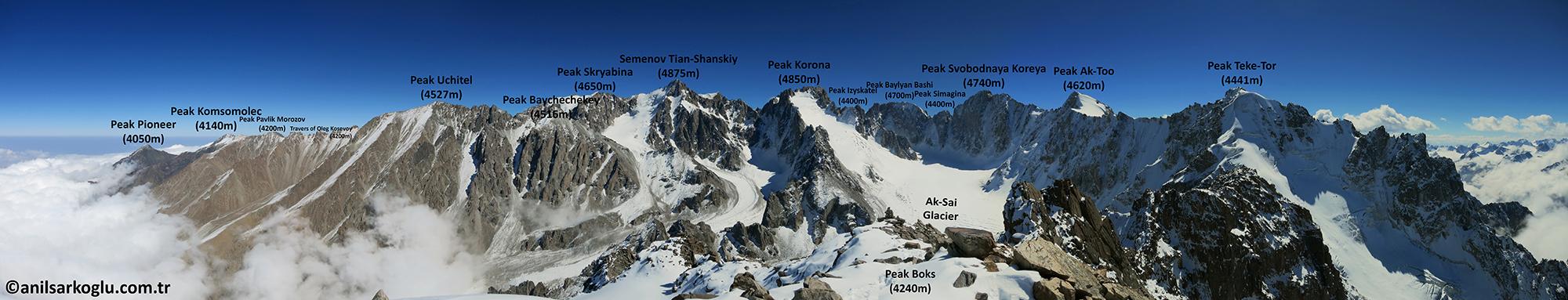 Boks (4240m) zirvesinden panoramik Ala Archa görüntüsü
