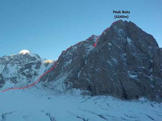 Peak Boks (4240m), çıkış ve iniş rotası